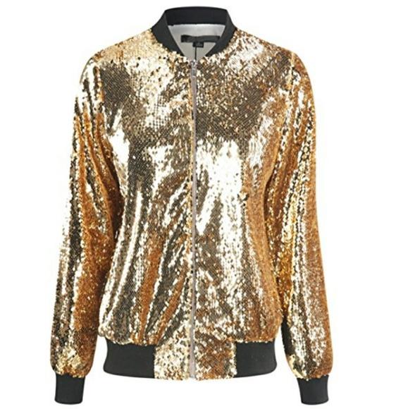 240286a2 haoduoyi Jackets & Coats | Gold Sequin Bomber Jacket | Poshmark